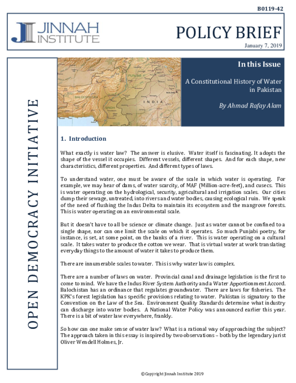 Pdf A Constitutional History Of Water In Pakistan Rafay Alam