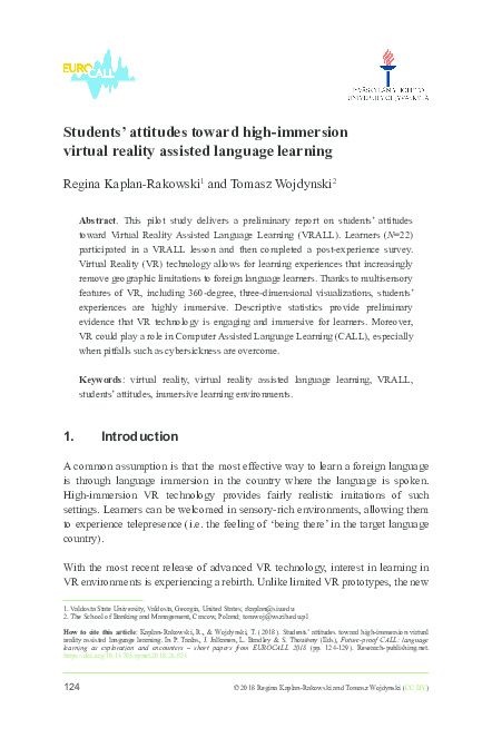 d27def24f286 PDF) Students  attitudes toward high-immersion virtual reality ...