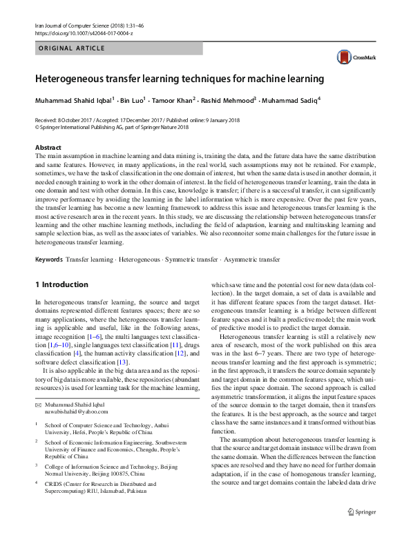 PDF) Heterogeneous transfer learning techniques for machine