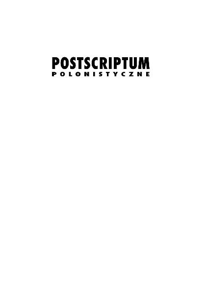 Pdf Postscriptum Polonistyczne 2009 Nr 1 3