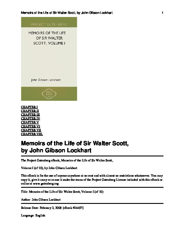 PDF) Memoirs of the Life of Sir Walter Scott, Volume I.pdf | Ahmed ...