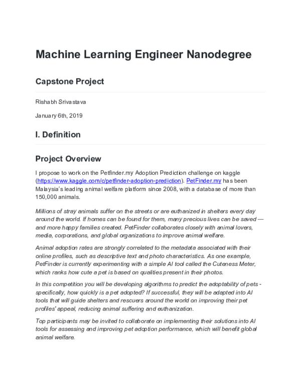 PDF) Machine Learning Capstone Project pdf | Rishabh Srivastava