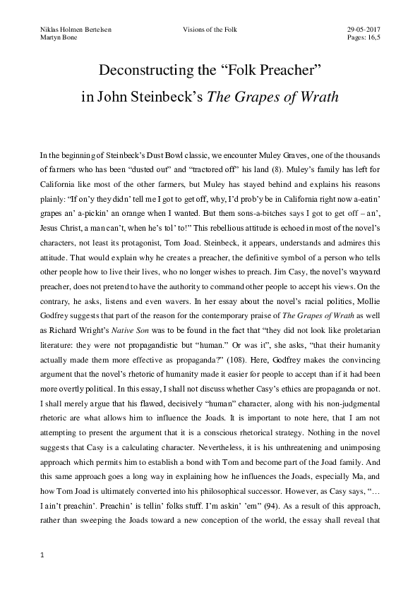 literary analysis essay analyzing one of the intercalary chapters of the grapes of wrath