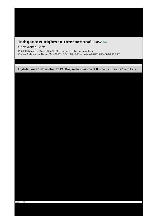 PDF) indigenous rights in international law pdf | Cher W