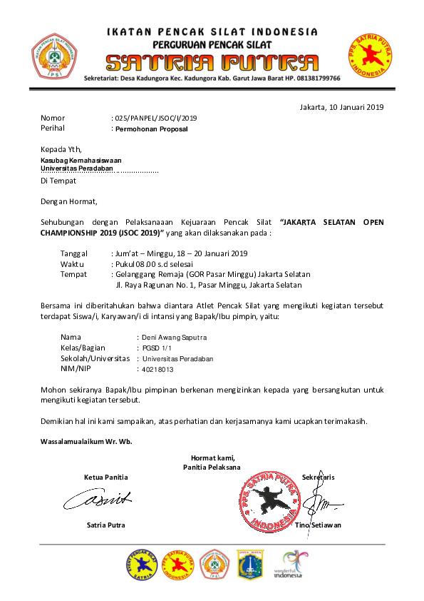 Pdf Surat Jsoc 2019 Dispensasi1 Deni A Saputra