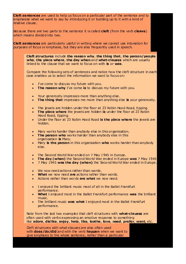 PDF) Cleft sentences   Alaa Souadia - Academia edu