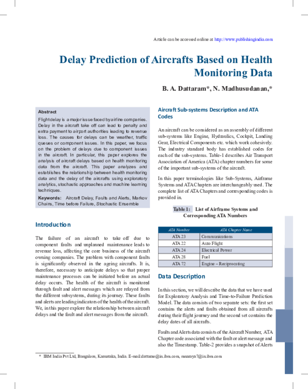 PDF) Delay Prediction of Aircrafts Based on Health