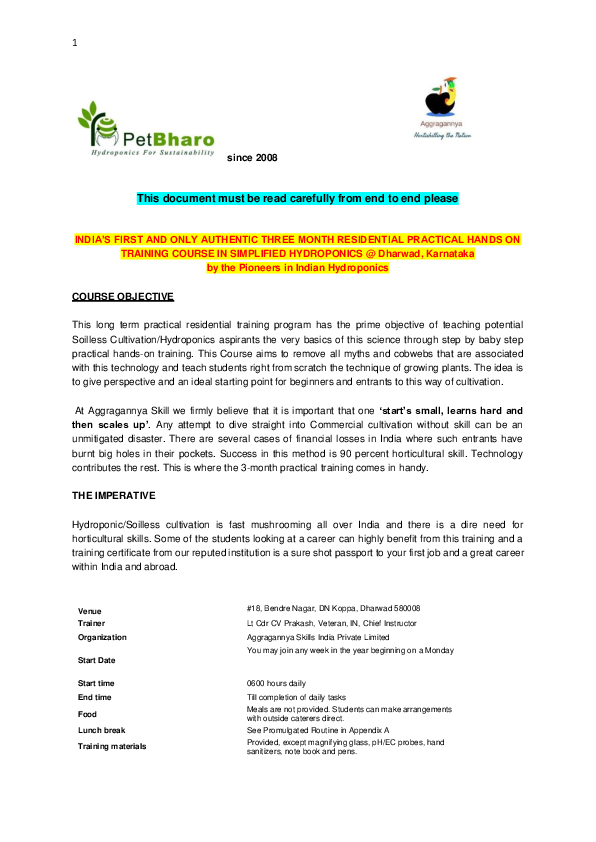 PDF) India's First and Most Authentic Hydroponics Training