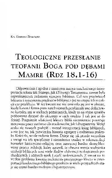 Pdf Teologiczne Przesłanie Teofanii Boga Pod Dębami Mamre