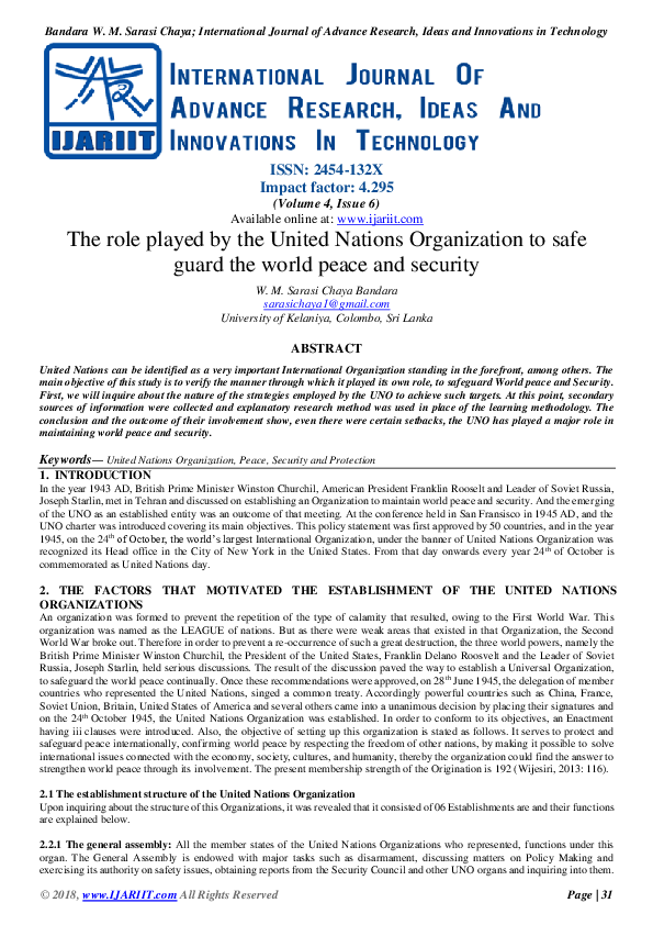 United Nations Organisation Pdf