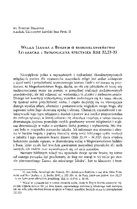 Pdf Walka Jakuba Z Bogiem O Błogosławieństwo Literacka I