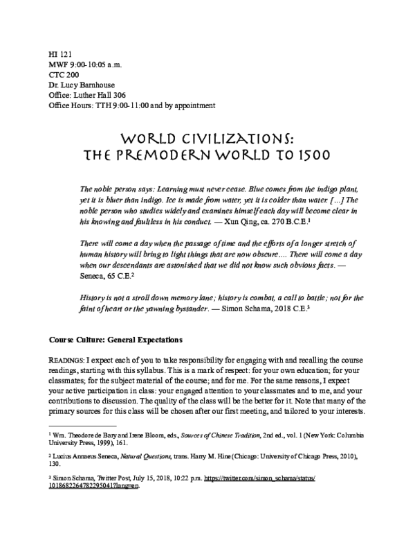 PDF) Premodern Global History Syllabus | Lucy C Barnhouse - Academia edu
