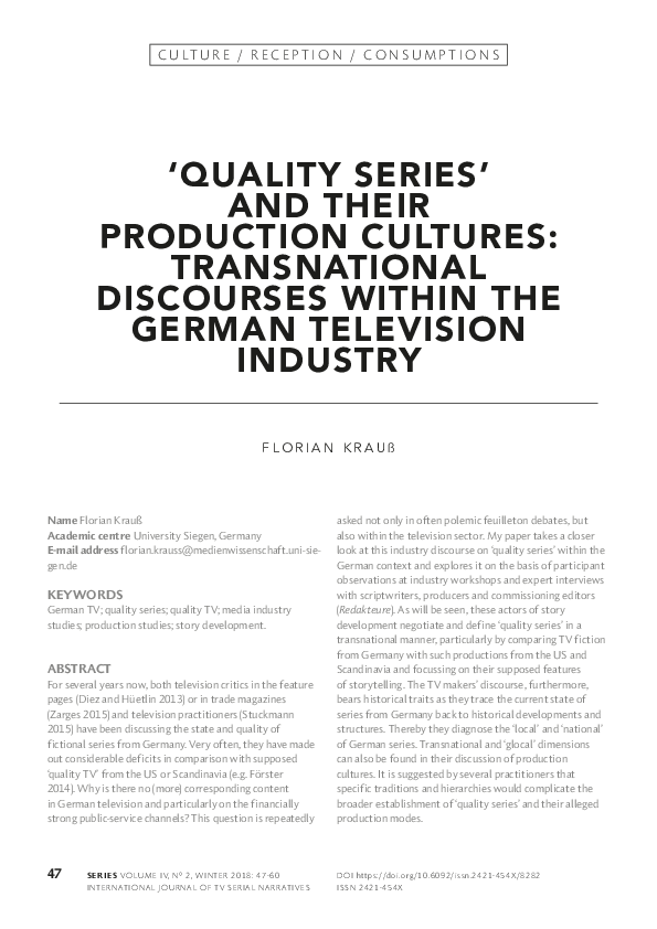 Pdf Quality Series And Their Production Cultures