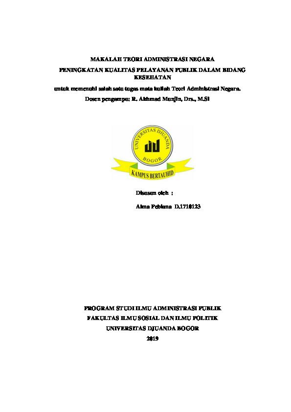 Doc Makalah Peningkatan Kualitas Pelayanan Publik Dalam Bidang Kesehatan Alma Pebiana Docx Alma Pebiana Academia Edu