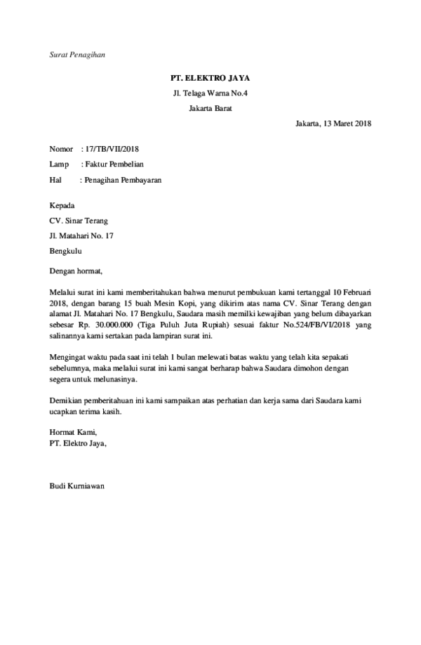 Doc Surat Penagihandocx Tathiannet Student Class