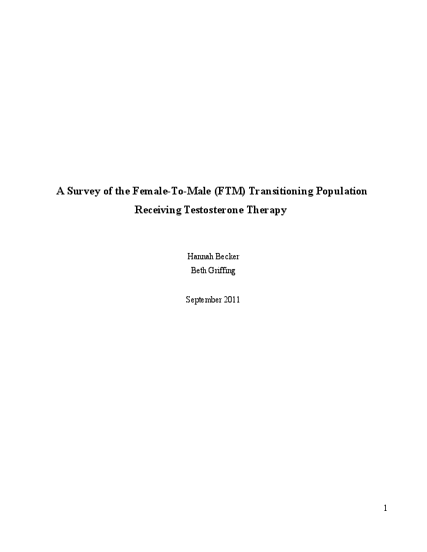 PDF) A Survey of the Female-To-Male (FTM) Transitioning Population
