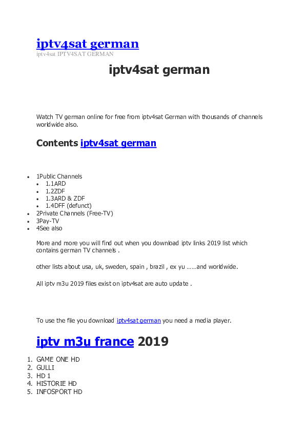 Iptv m3u french download
