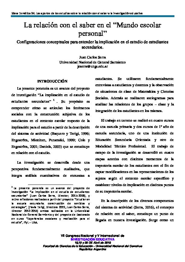 PDF) Implicacin en el estudio y relacin con el saber - Serra.pdf ...