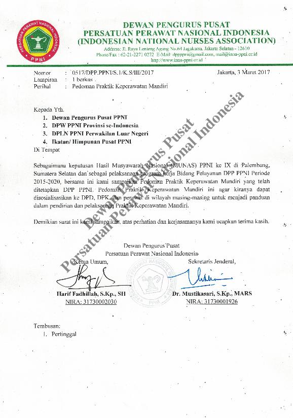 Pdf Praktik Mandiri Perawat Sk Pedoman Praktik Keperawatan