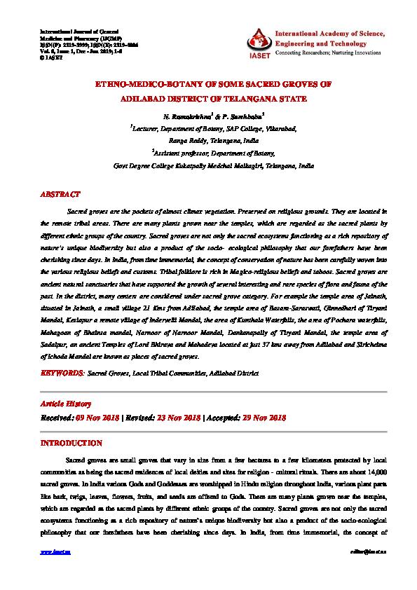 PDF) 1  IJGMP - ETHNO-MEDICO-BOTANY OF SOME SACRED GROVES OF