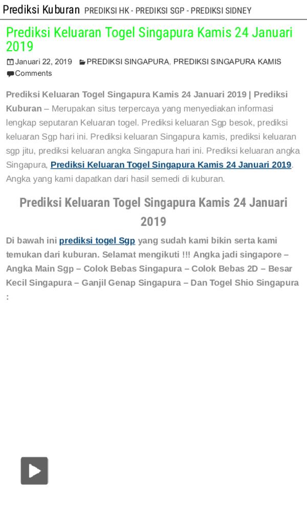 Pdf Prediksi Keluaran Togel Singapura Kamis 24 Januari 2019