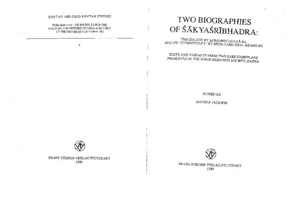 PDF) Two Biographies of   kya r bhadra: The Eulogy by Khro-phu lo ...
