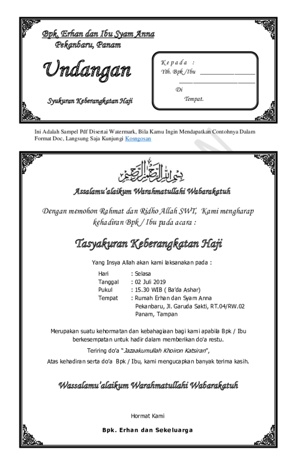 Pdf Contoh Undangan Tasyakuran Hajipdf Reza Harahap Academiaedu