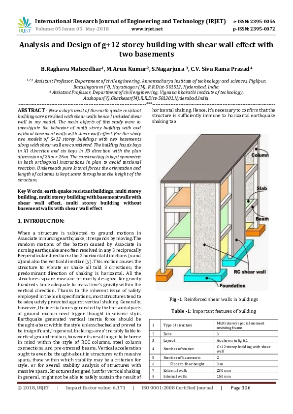 PDF) IRJET-Analysis and Design of g+12 storey building with