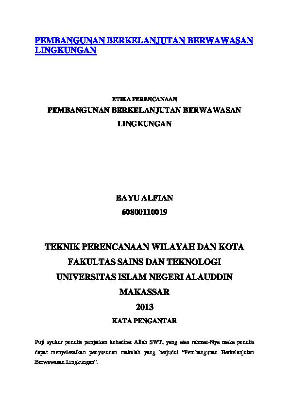 Doc Pembangunan Berkelanjutan Berwawasan Lingkungan Docx Dena Marlina Afsari Academia Edu