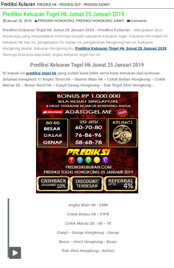 PDF) Prediksi Keluaran Togel Hk Jumat 25 Januari 2019 pdf | manalu