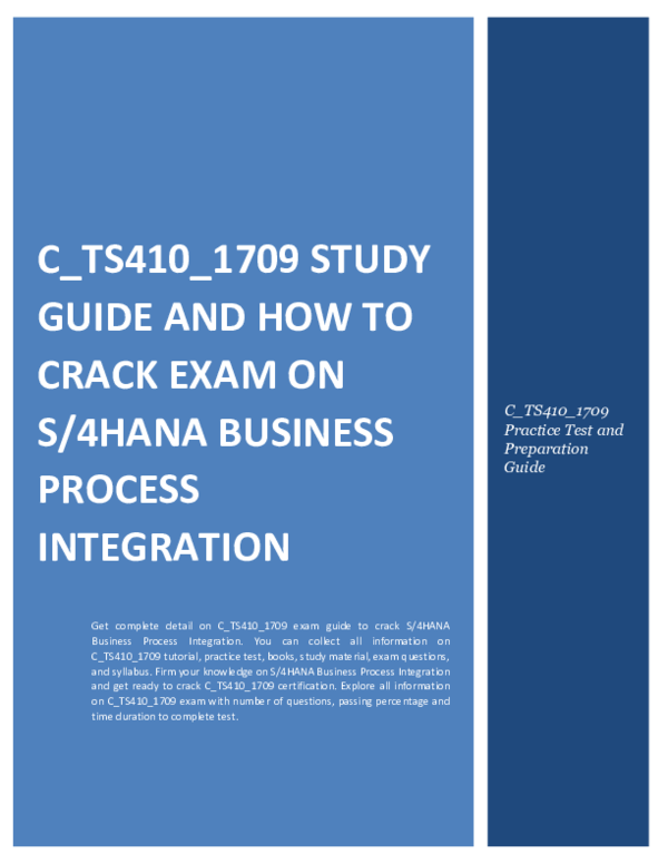 PDF) C_TS410_1709 Study Guide and How to Crack Exam on S/4HANA