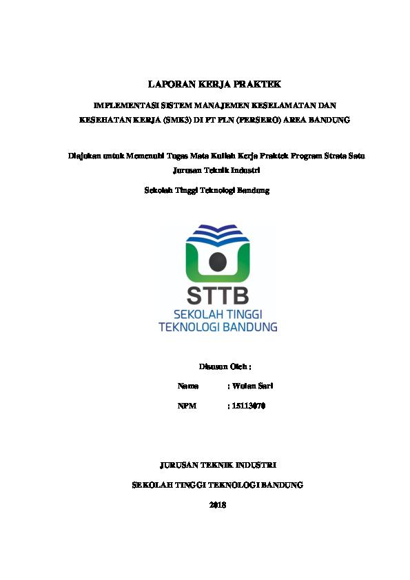 Pdf Laporan Kerja Praktek Tentang Implementasi Sistem Manajemen Keselamatan Dan Kesehatan Kerja Smk3 Wulan Sari Academia Edu