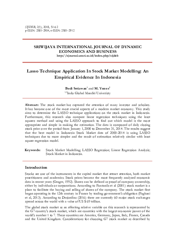 PDF) Budi Lasso Technique Application In Stock Market Modelling An