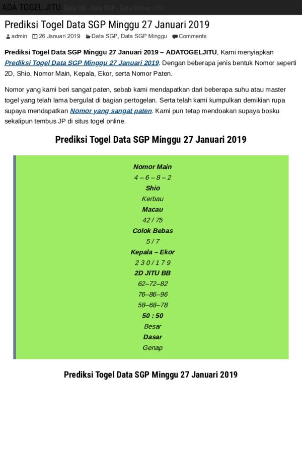 Pdf Prediksi Togel Data Sgp Minggu Ada Togel Jitu Pdf