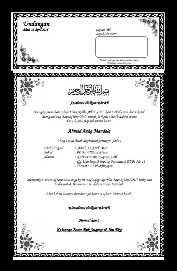 Doc Contoh Undangan Aqiqahdocx Rakhmat Rp Academiaedu