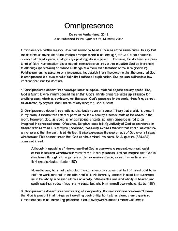 PDF) Omnipresence | Domenic Marbaniang - Academia edu