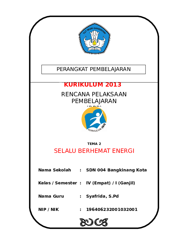 Doc 2 Rpp Sd Kelas 4 Tema 2 Selalu Berhemat Energidoc