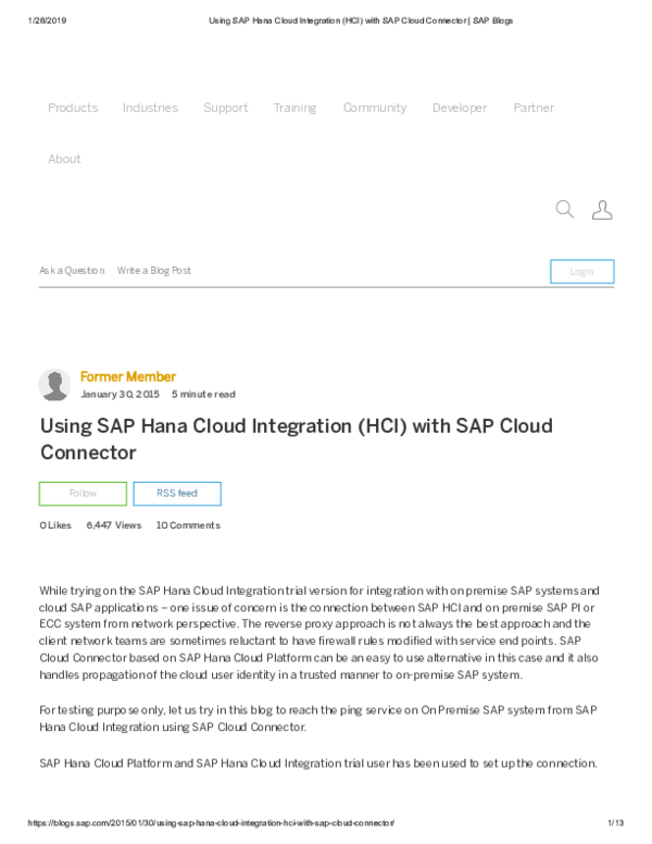 PDF) Using SAP Hana Cloud Integration (HCI) with SAP Cloud