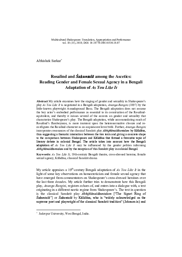 PDF) Reading Gender and Female Sexual Agency in a Bengali