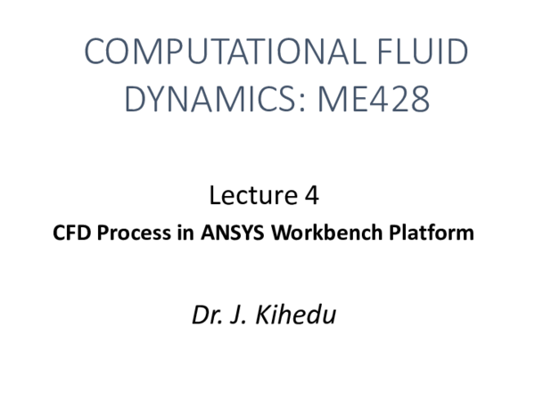 PDF) Lecture 4 - CFD Process in ANSYS Workbench | Emanuel