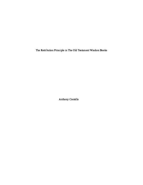 PDF) OT Wisdom and the Retribution Principle pdf | Anthony