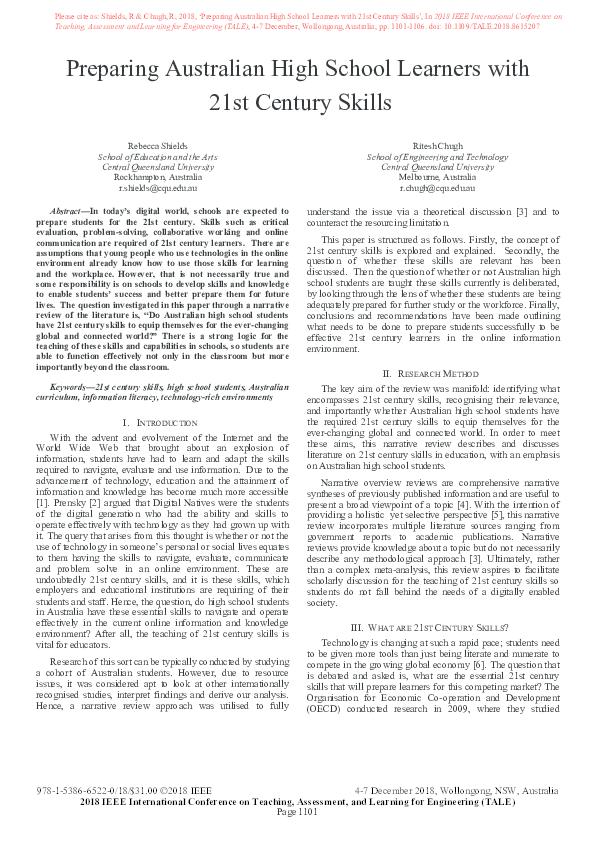 21st century skills research pdf