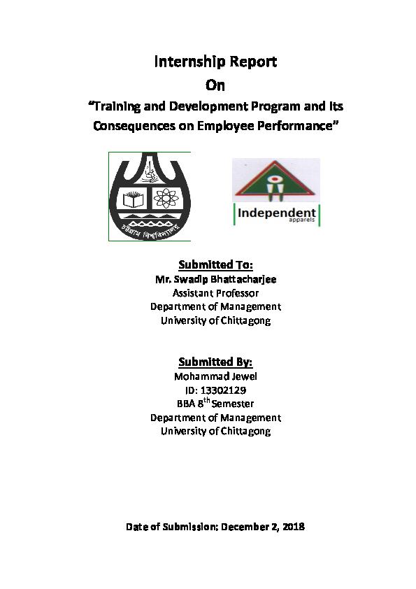 PDF) internship report on Training and Development and its