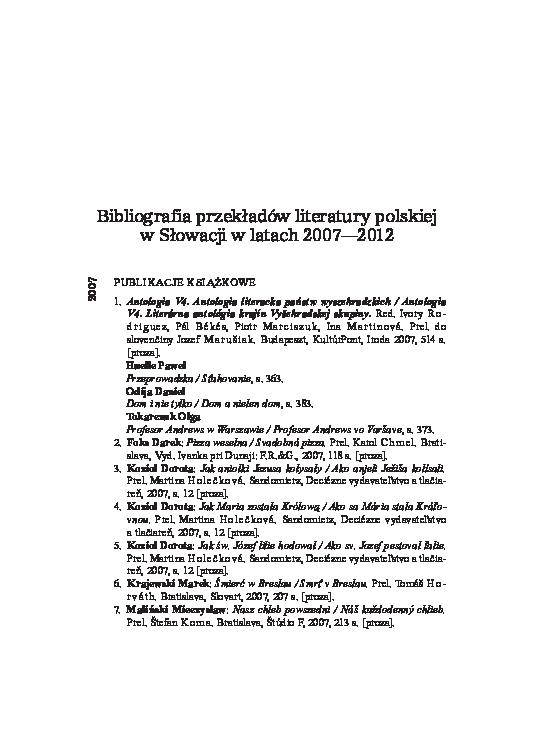Pdf Bibliografia Przekładów Literatury Polskiej W Słowacji