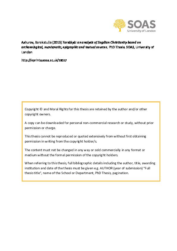 Pdf Tarsakya An Analysis Of Sogdian Christianity Based On