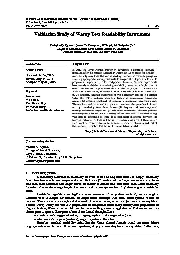 PDF) Validation Study of Waray Text Readability Instrument