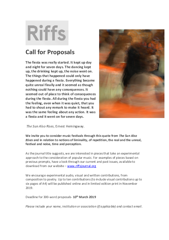 PDF) 'Riffs: Experimental writing on popular music' Volume 3