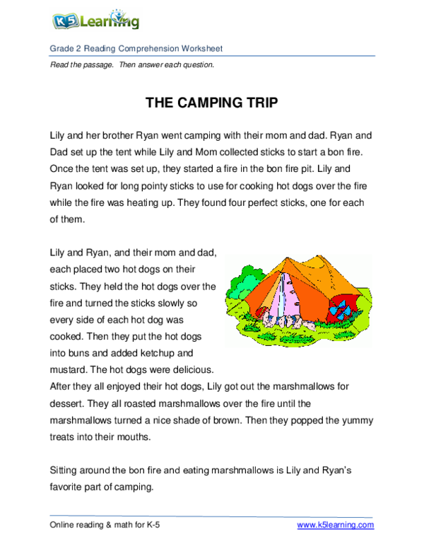 PDF Nd Grade 2 Reading Prehension Worksheet Camping