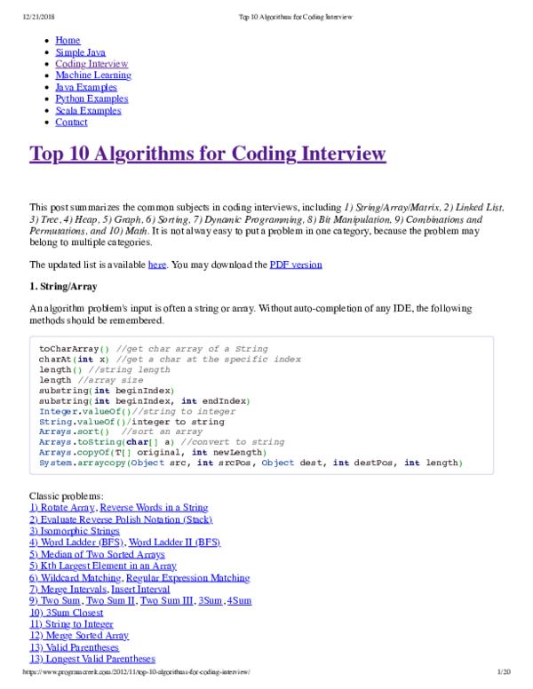 PDF) Top 10 Algorithms for Coding Interview | Neha Arora