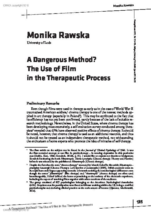 Pdf A Dangerous Method The Use Of Film In The Therapeutic Process Panoptikum Nr 18 25 2017 Monia Jane Rawska Academia Edu
